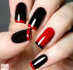 All girls like beautiful nails. The first thing we notice is nails. Therefore, we need to take good care of the reasons for nails. We always remember the person with the incredible nails. Instead, we don't care about the worst nails. Red Black Nails, Red Nails, Love Nails, How To Do Nails, Pretty Nails, Black Manicure, Dark Nails, Matte Black, Glitter Manicure
