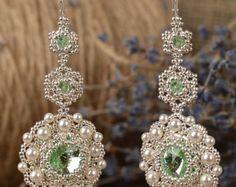 Orecchini lunghi penzolare perla gioielli da di CrystalAvenues