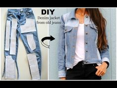DIY: Denim Jacket from old jeans featuring Named Clothing Maisa Denim Jacket Pattern. How to: Upcycled denim jacket from old jeans. Laura from Trash to Couture shares the construction process of making a denim jacket from upcycled jeans featuring Named Cl Diy Jeans, Jeans Refashion, Diy Clothes Refashion, Diy With Jeans, Reuse Jeans, Diy Clothes Jeans, Thrift Store Refashion, Men Clothes, Diy Clothing