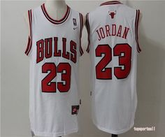 NBA Chicago Bulls 23 Michael Jordan White Red Number and Name Basketball Jersey