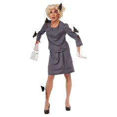 This Women's, Bird Attack Costume is simply horrifying! Boasting a sophisticated grey suit with menacing black bird accessories, it's comfy and easy to wear. Inspired by Alfred Hitchcock's famous movie, it's a truly original Halloween costume idea and sure to be the talk of this year's party.