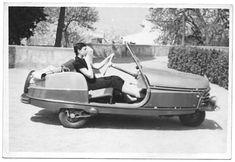 Microcoche Triciclo David, años 50 en #Barcelona