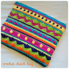 crochet mixed stitches clutch bag! Im in love♡