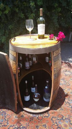 Reclaimed Oak Whiskey Barrel Liquor Cabinet/mini Bar W/ Accessories