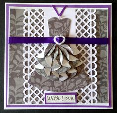 Revamp of hand made card using teabag folding (Dahlia fold) and martha stewart punch