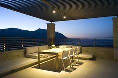 Night time at the villas Greek House, Luxury Villa Rentals, Small Towns, Greece, Pergola, Outdoor Structures, Night Time, Building