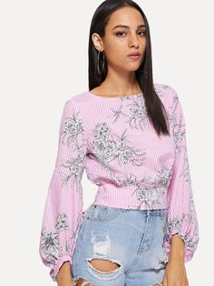 Shop Bishop Sleeve Tie Back Mixed Print Top online. SheIn offers Bishop Sleeve Tie Back Mixed Print Top & more to fit your fashionable needs. Blouse Styles, Blouse Designs, African Dresses For Kids, Stylish Outfits, Fashion Outfits, Bishop Sleeve, Dress Shirts For Women, Cute Tops, Nice Dresses