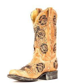Corral Women's Antique Saddle/Brown Rose Cowgirl Boot     http://www.countryoutfitter.com/products/27509-womens-antique-saddle-brown-rose-boot-r2375 #cowgirlboots