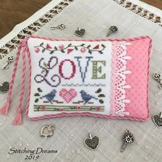 Stitching Dreams: Feeling the Love (and giveaway winners! Cross Stitch Fabric, Cross Stitch Heart, Beaded Cross Stitch, Cross Stitch Samplers, Cross Stitching, Cross Stitch Embroidery, Cross Stitch Patterns, Lizzie Kate, Cross Stitch Numbers