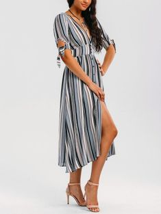 SHARE & Get it FREE   Stripes Bowknot Button Up Midi Dress - Stripe LFor Fashion Lovers only:80,000+ Items • New Arrivals Daily Join Zaful: Get YOUR $50 NOW!
