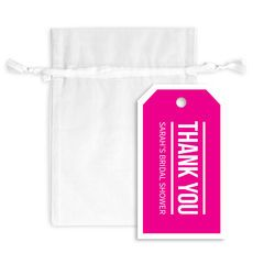 Bold Thank You Hanging Gift Tags with Organza Bags