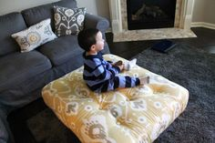 DIY Tufted Ottoman made from a Pallet! Only $70 for this HUGE ottoman! Great tutorial