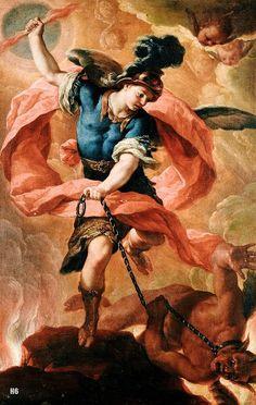 Acislo Antonio Palomino de Castro y Velasco, Saint Michael the Archangel Vanquishing the Devil Saint Michael, St Micheal, Catholic Art, Religious Art, Rennaissance Art, Flaming Sword, Oil Canvas, Angel Warrior, Ange Demon