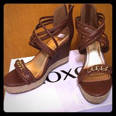 New  XOXO Wedged Sandals NIB Wedged Sandals Brand: XOXO  Size: 8.5   Color: Chestnut  Never worn and comes in the box. XOXO Shoes Wedges
