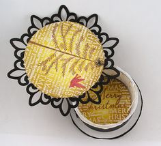 gift container from a ribbon reel B Line, Diy Christmas Cards, Art Challenge, Hero Arts, Distress Ink, Art Blog, Holiday Gifts, Card Stock, Decorative Plates