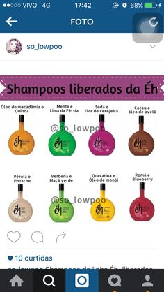 Shampoos liberados da Eh