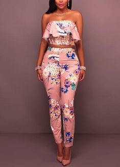 Women Pink Floral Print Strapless Ruffle Crop Top Pants Suit - S Chic Outfits, Fashion Outfits, Womens Fashion, Fashion Tips, Fashion Design, Fashion Trends, Emo Outfits, Punk Fashion, Lolita Fashion