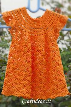 Crochet patterns free: Beautiful Dress In Crochet Yarn Orange For Girls