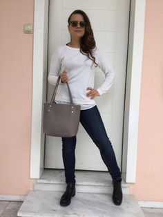 Medium Tote Leather Bag/Leather Tote Bag/ Grey leather tote/ Grey Leather, Leather Bag, Medium Tote, Crossbody Shoulder Bag, Italian Leather, Bag Making, Leather Handbags, Tote Bag, How To Wear