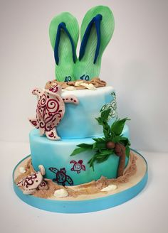 Turtles by the sea cake