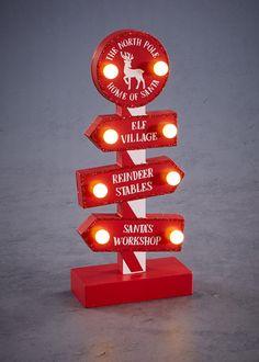 LED North Pole Christmas Decoration (28cm x 12cm x 6cm)