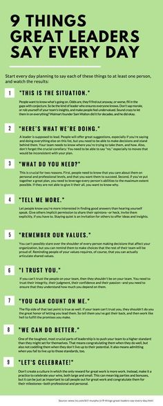SEO Marketing Ideas 9 Things Great Leaders Say Every Day 9 things great leaders say everyday, leadership, inspiration, success People judge you by what you do--and by what you say. Here are nine phrases that should roll off your lips every single day. Leadership Skill, Leadership Development, Leadership Quotes, Professional Development, Coaching Quotes, Achievement Quotes, Leader Quotes, Examples Of Leadership, College Tips