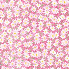 Fabric Traditions Packed Daisies On Pink Fabric