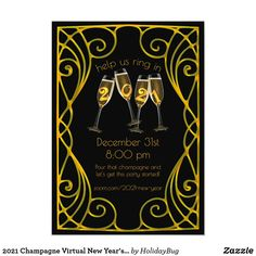 2021 Champagne Virtual New Year's Eve Art Nouveau Invitation New Years Eve Invitations, Holiday Invitations, Custom Invitations, Holiday Cards, Christmas Cards, New Year's Eve Celebrations, Father Time, New Years Eve Party, Art Nouveau