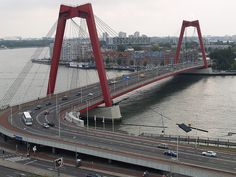 Bridges in Rotterdam, Maas river and Willemsbrug. (The Netherlands) Rotterdam Architecture, Rotterdam Netherlands, Kingdom Of The Netherlands, Travel Sights, Pedestrian Bridge, Paradise On Earth, Travel Memories, Places To See, Dutch