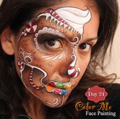 25 Days of Christmas. Gingerbread skull face painting - Color Me Face Painting