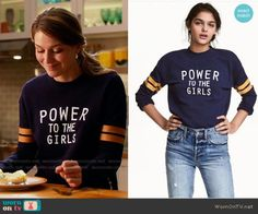 H&M Dark Blue Sweatshirt worn by Melissa Benoist on Supergirl Fashion Tv, Fashion Outfits, Fashion Spring, Fashion Online, Fashion Ideas, Supergirl Outfit, Girls Jumpers, Embroidered Jacket, Casual T Shirts