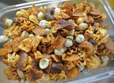 Crunchy Ramen Snack Mix Here is another Ramen treat that doesn't require boiling. Add pieces of Ramen to a homemade snack mix, along with things like various nuts, wasabi peas, and spices.