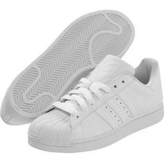 adidas Originals Superstar 2 (White/White1) Classic Shoes ($26) ❤ liked on Polyvore featuring shoes, white, grip shoes, adidas originals, traction shoes, white shoes and adidas originals shoes