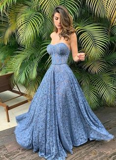 A-line Strapless Lace Sweetheart Vintage Modest Popular Prom Dresses Blue Lace Prom Dress, Blue Evening Dresses, Prom Dresses Blue, Modest Dresses, Pretty Dresses, Homecoming Dresses, Sexy Dresses, Strapless Dress Formal, Beautiful Dresses