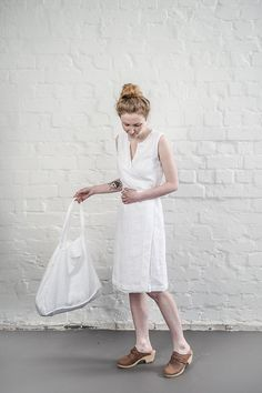 Large white linen tote bag / linen beach bag by notPERFECTLINEN