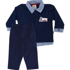 Conjunto Infantil Masculino de Moleton Avião Marinho - Nini & Bambini :: 764 Kids | Roupa bebê e infantil