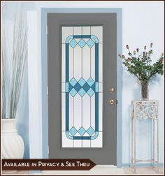 Stained and Leaded Glass Door Panel Cambridge I Privacy And See-Thru Window Film Features Shades of Blue Stained Glass Window Clings, Leaded Glass, Stained Glass Windows, Glass Doors, Window Films, Bathroom Windows, Stained Glass Designs, Panel Doors, Window Coverings