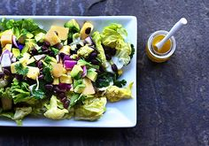 SALAD: Little lettuces w. black beans, pineapple, avocado & honey-lime vinaigrette