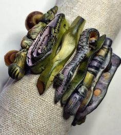 Another view. Polymer clay, pastel, Moroccan faux Amber