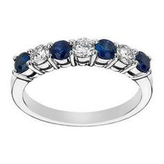Seven Stone Round Diamonds & Blue Sapphires Wedding Band 0.35 tcw. In 14K White Gold