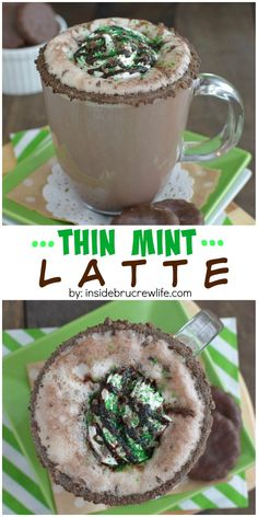 This homemade chocolate mint latte is topped with Thin Mint cookie crumbles and tastes so good! This homemade chocolate mint latte is topped with Thin Mint cookie crumbles and tastes so good! Ninja Coffee Bar Recipes, Coffee Drink Recipes, Tea Recipes, Coffee Drinks, Dessert Recipes, Cooking Recipes, Thin Mints, Mooncake, Homemade Chocolate