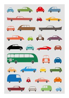 Nursery decor art, Cars retro poster, All colors poster, Mid century Illustration style poster for boys, Size A3