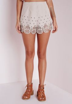 Missguided - Cut Out Detail Shorts Taupe
