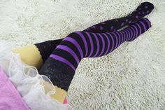 Japanese Harajuku Stars & Striped Patterned Velvet Tights Pantyhose Fashion Colored Stocking Tights