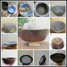 vasos de cimento passo a passo - Pesquisa Google