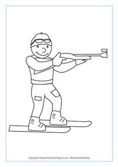 Biathlon Colouring Page