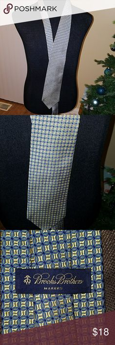 Brooks Brothers  Tie Pure silk woven in England made IN USA, gold  and blue design Brooks Brothers Accessories Ties