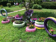 Found this colorful collection of tire planters on High Street in Bridgewater today.