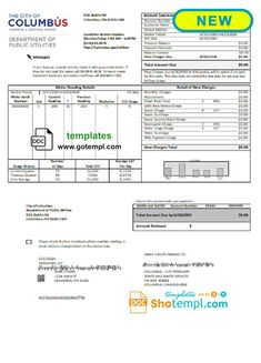 USA City of Columbus utility bill template in Word format