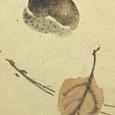 Otagaki Rengetsu | Painting  Coming down amid the flutteringly falling leaves... on the soil the thud of a single chestnut.